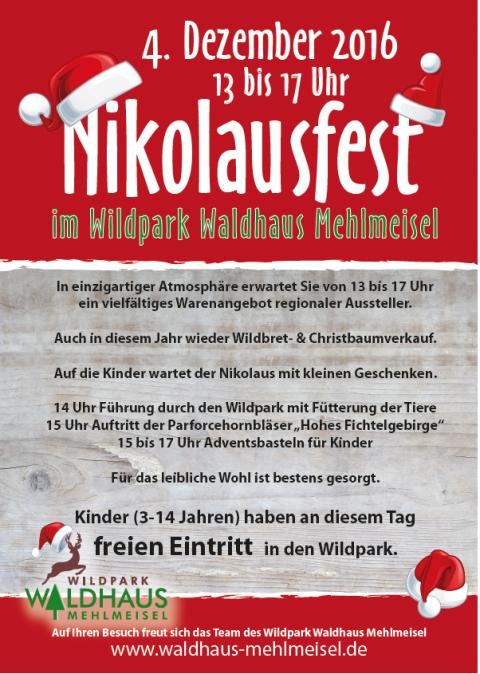Plakat für den Wildpark Waldhaus Mehlmeisel