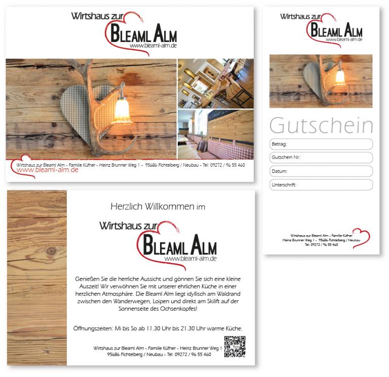 Logo, Flyer und Gutschein Bleaml Alm in Fichtelberg Neubau